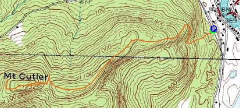 Mt cutler maine november 24 2007 hike trip report topographic map of mt cutler click to enlarge publicscrutiny Images