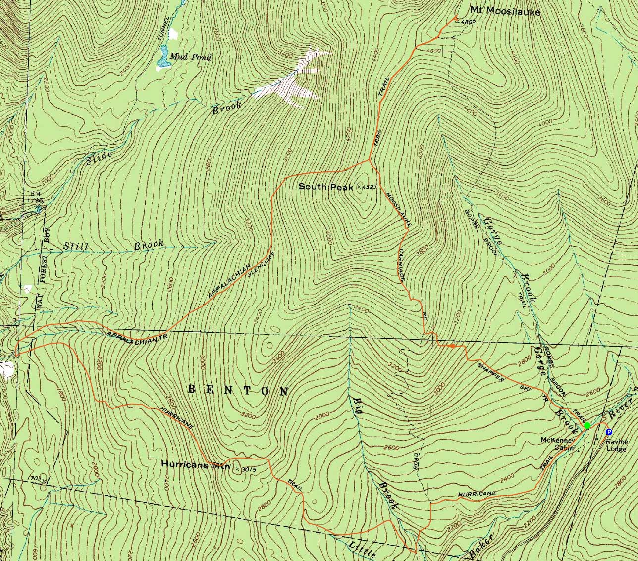 topographic map of mt moosilauke  click to enlarge. mt moosilauke  new hampshire  sunday hike trip report