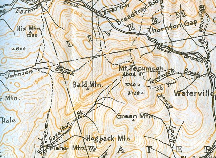 1940 AMC map of Mt. Tecumseh